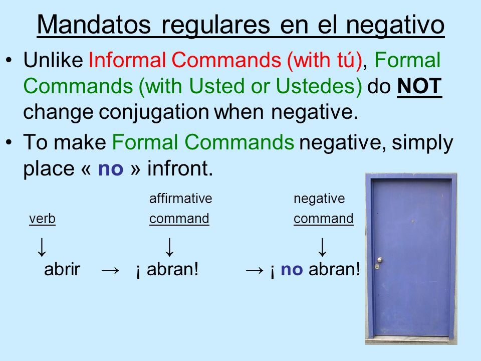 Mandatos regulares en el negativo