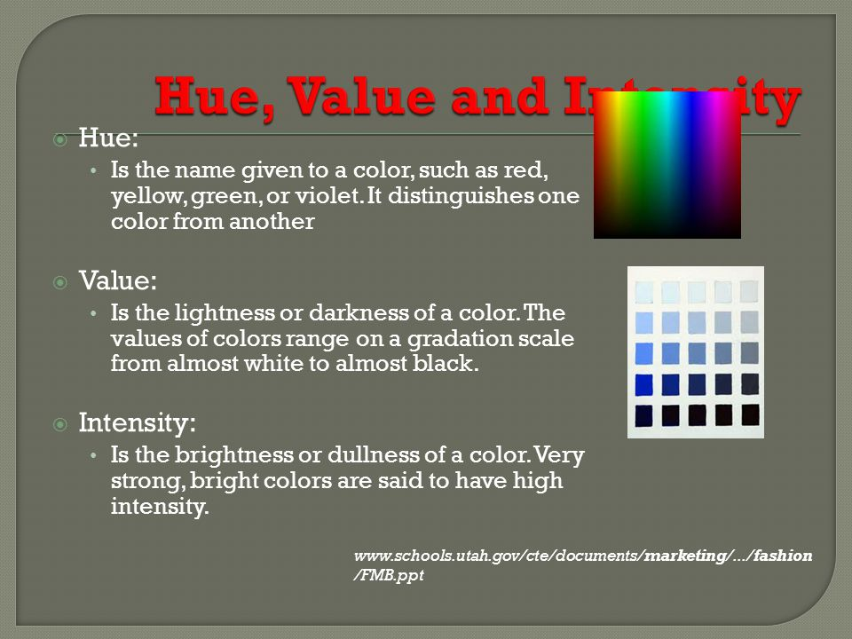 Hue, Value and Intensity