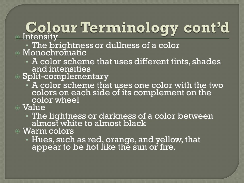 Colour Terminology cont'd