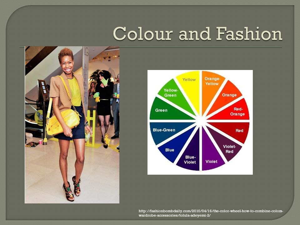 Colour and Fashion http://fashionbombdaily.com/2010/04/16/the-color-wheel-how-to-combine-colors-wardrobe-accessories/tolula-adeyemi-2/
