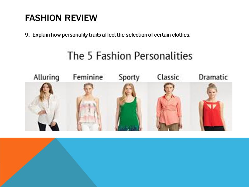 FASHION REVIEW 9. Explain how personality traits affect the selection of certain clothes.