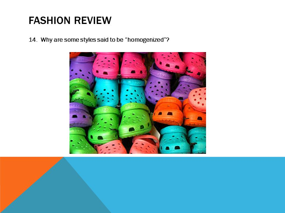 FASHION REVIEW 14. Why are some styles said to be homogenized
