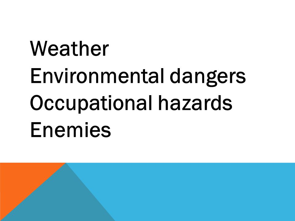 Weather Environmental dangers Occupational hazards Enemies