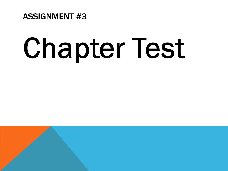 Assignment #3 Chapter Test
