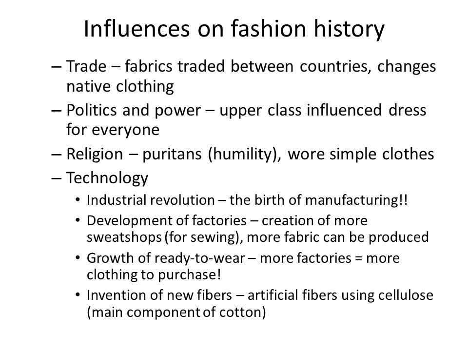 Influences on fashion history