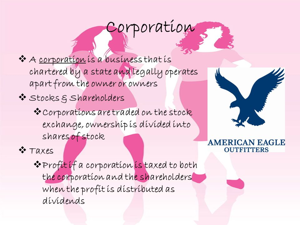 Corporation A corporation is a business that is chartered by a state and legally operates apart from the owner or owners.