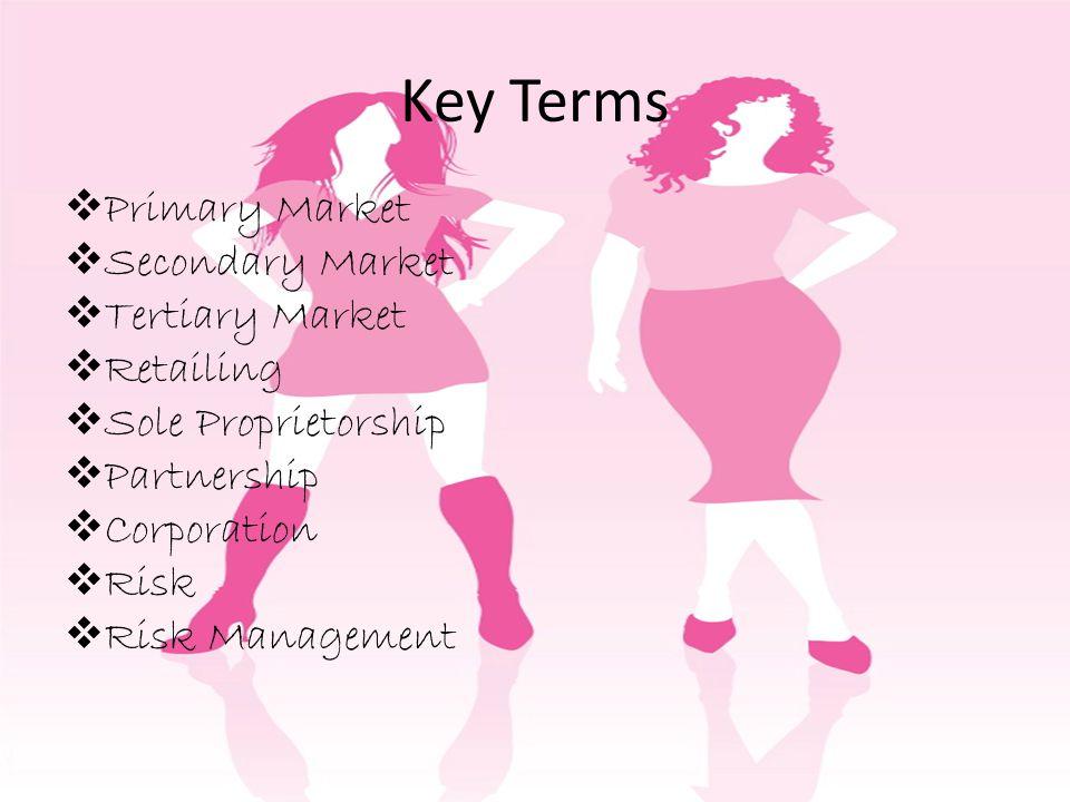 Key Terms Primary Market Secondary Market Tertiary Market Retailing