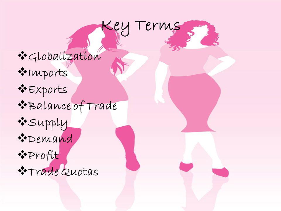 Key Terms Globalization Imports Exports Balance of Trade Supply Demand