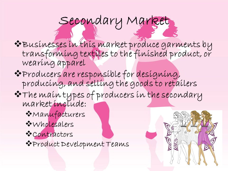 Secondary Market Businesses in this market produce garments by transforming textiles to the finished product, or wearing apparel.
