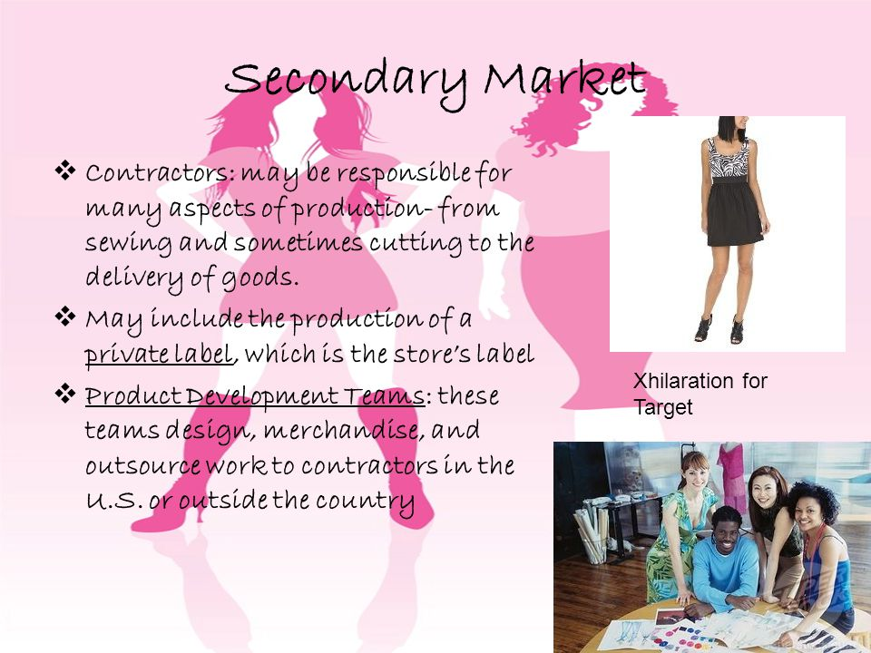 Secondary Market Contractors: may be responsible for many aspects of production- from sewing and sometimes cutting to the delivery of goods.