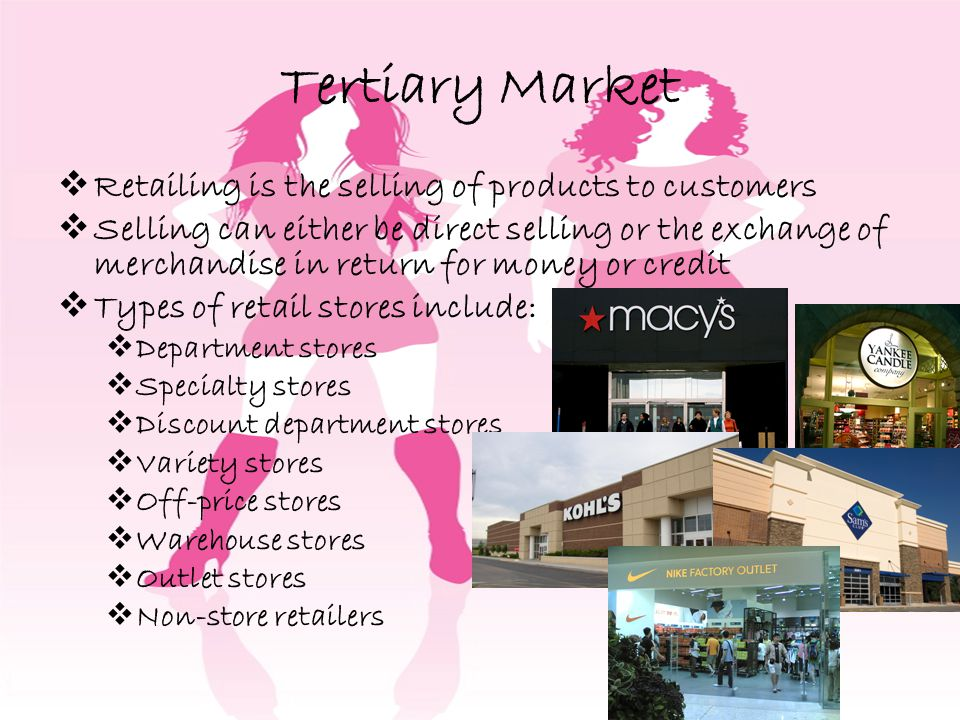 Tertiary Market Retailing is the selling of products to customers