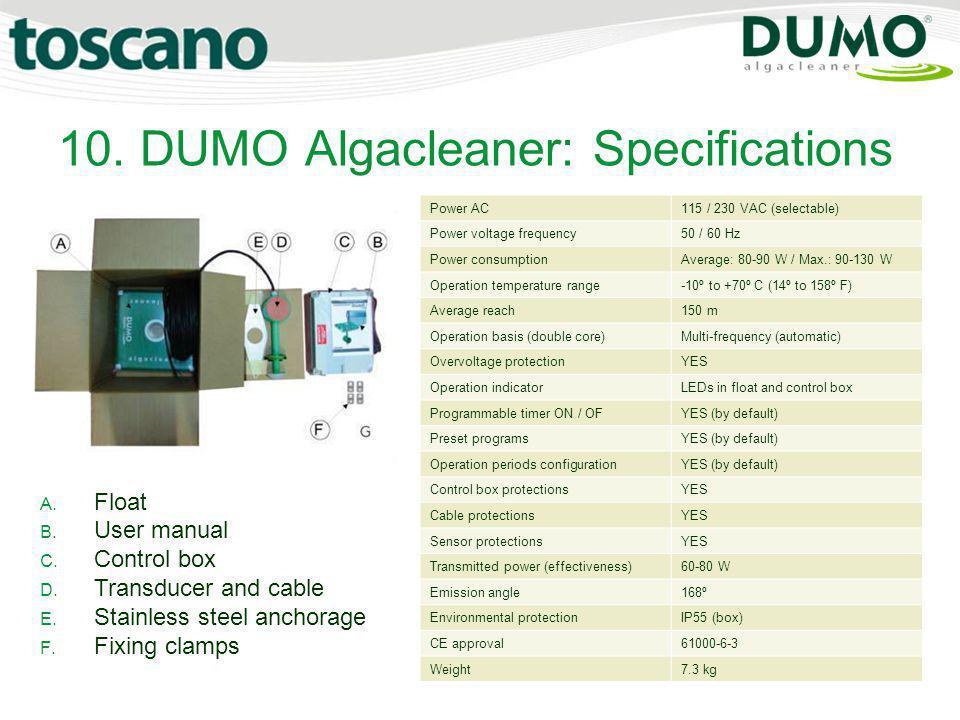 10. DUMO Algacleaner: Specifications