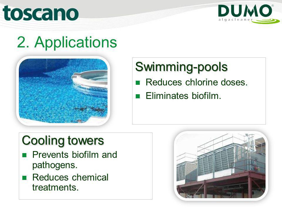 2. Applications Swimming-pools Cooling towers Reduces chlorine doses.