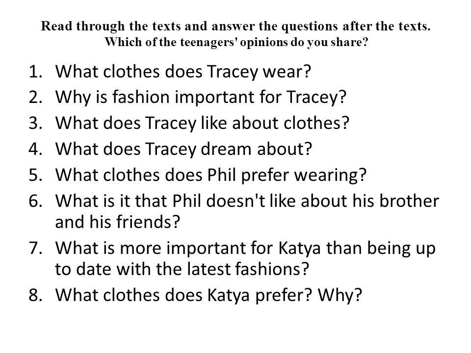 What clothes does Tracey wear Why is fashion important for Tracey
