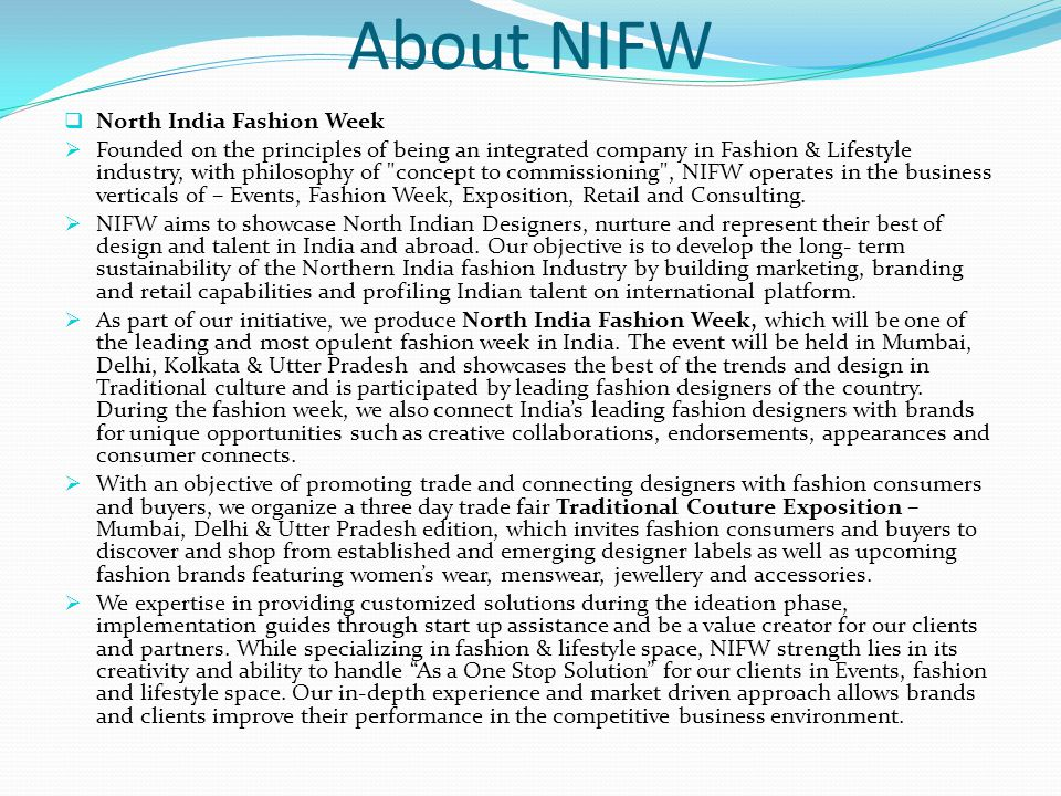 About NIFW North India Fashion Week