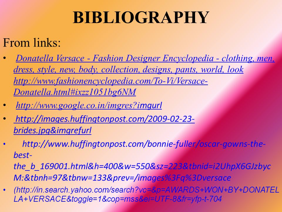 BIBLIOGRAPHY From links: