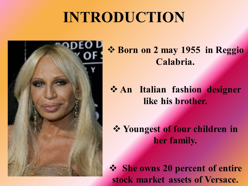 INTRODUCTION Born on 2 may 1955 in Reggio Calabria.