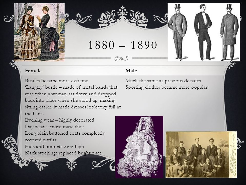 1880 – 1890 Female Male Bustles became more extreme