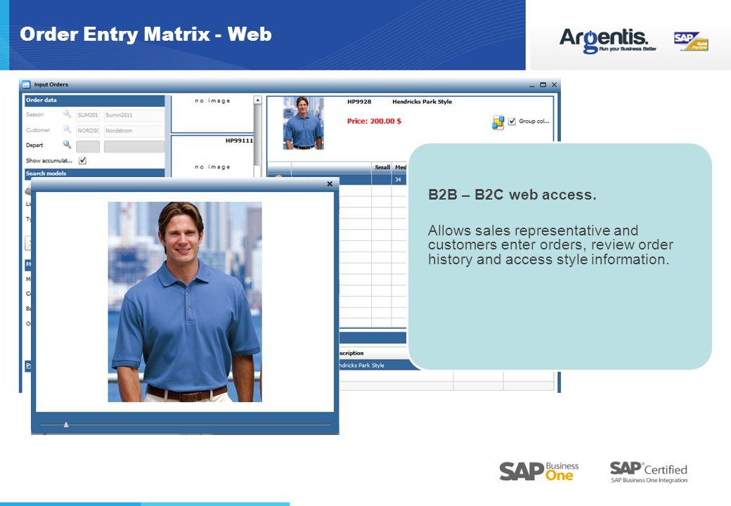 Order Entry Matrix - Web