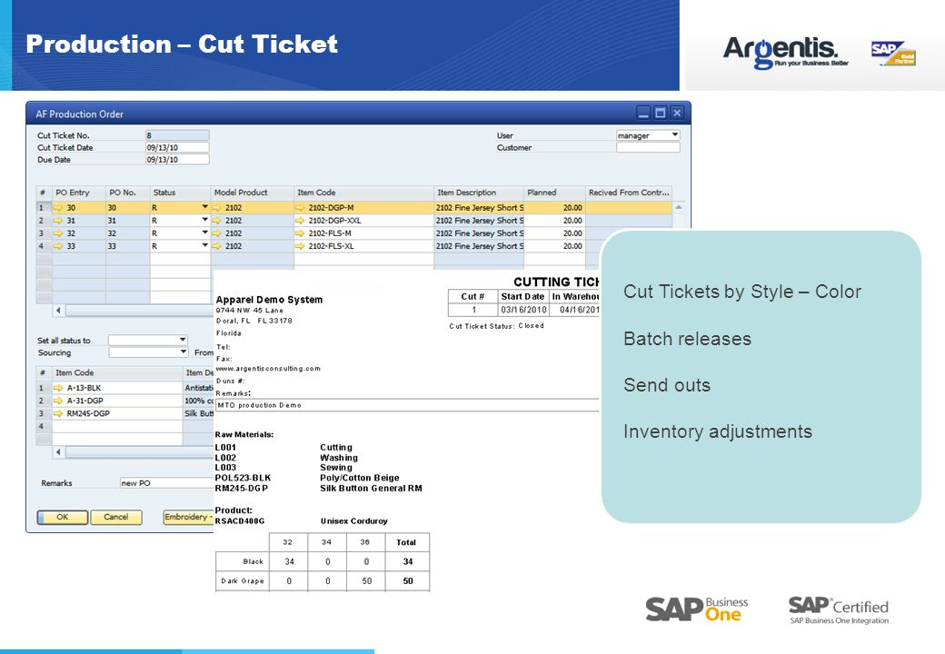 Production – Cut Ticket