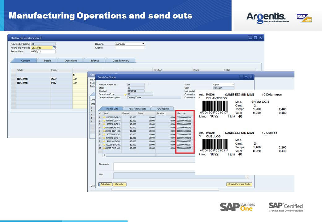 Manufacturing Operations and send outs