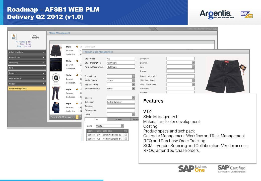 Roadmap – AFSB1 WEB PLM Delivery Q2 2012 (v1.0)