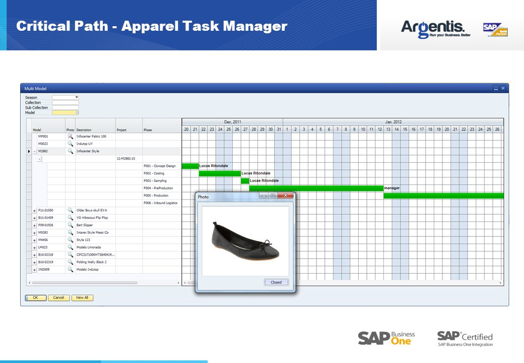 Critical Path - Apparel Task Manager