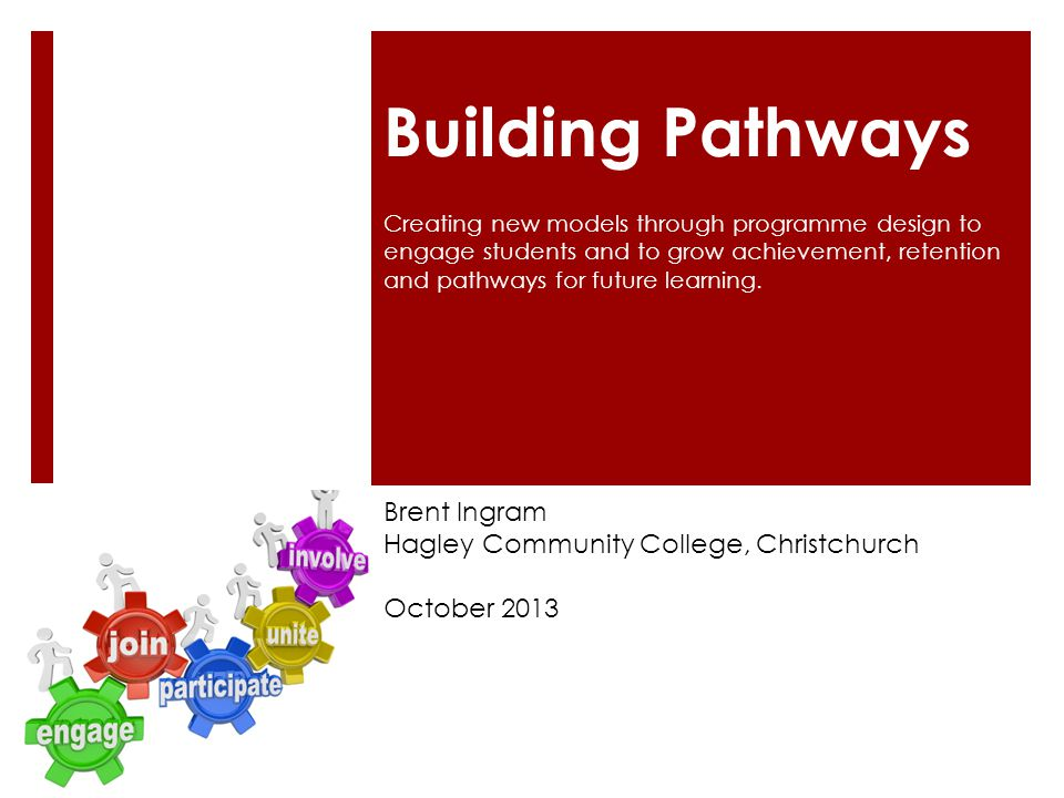 Building Pathways Brent Ingram Hagley Community College, Christchurch