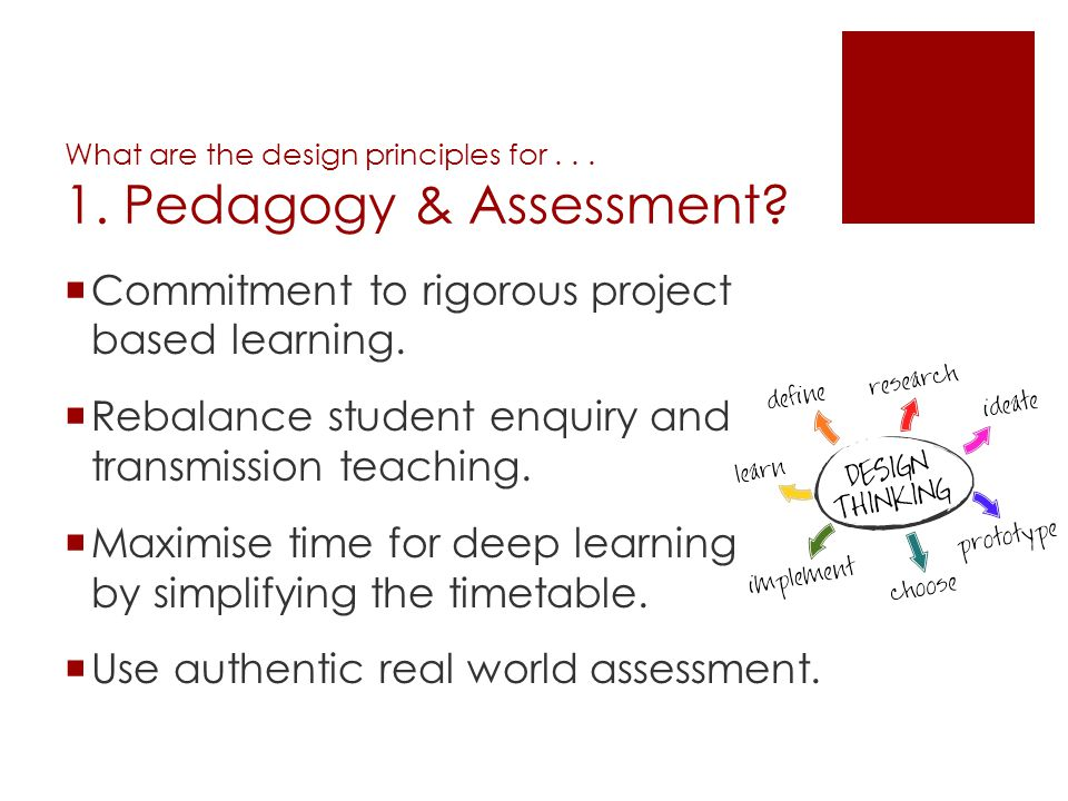 What are the design principles for . . . 1. Pedagogy & Assessment