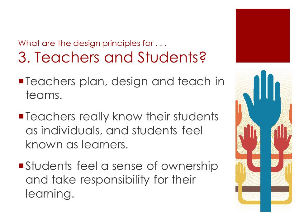 What are the design principles for . . . 3. Teachers and Students