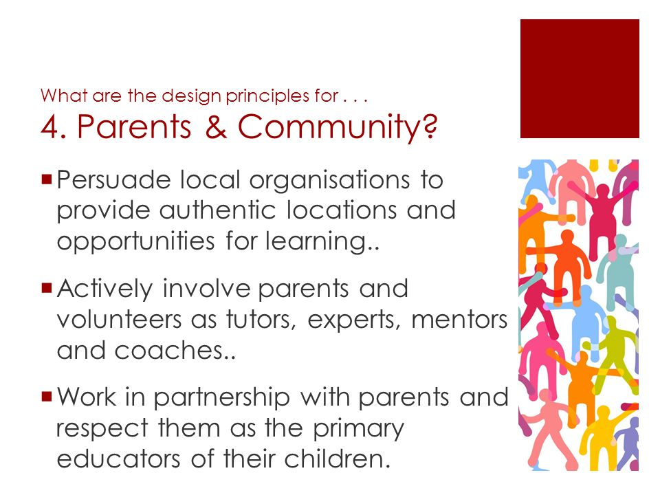 What are the design principles for Parents & Community