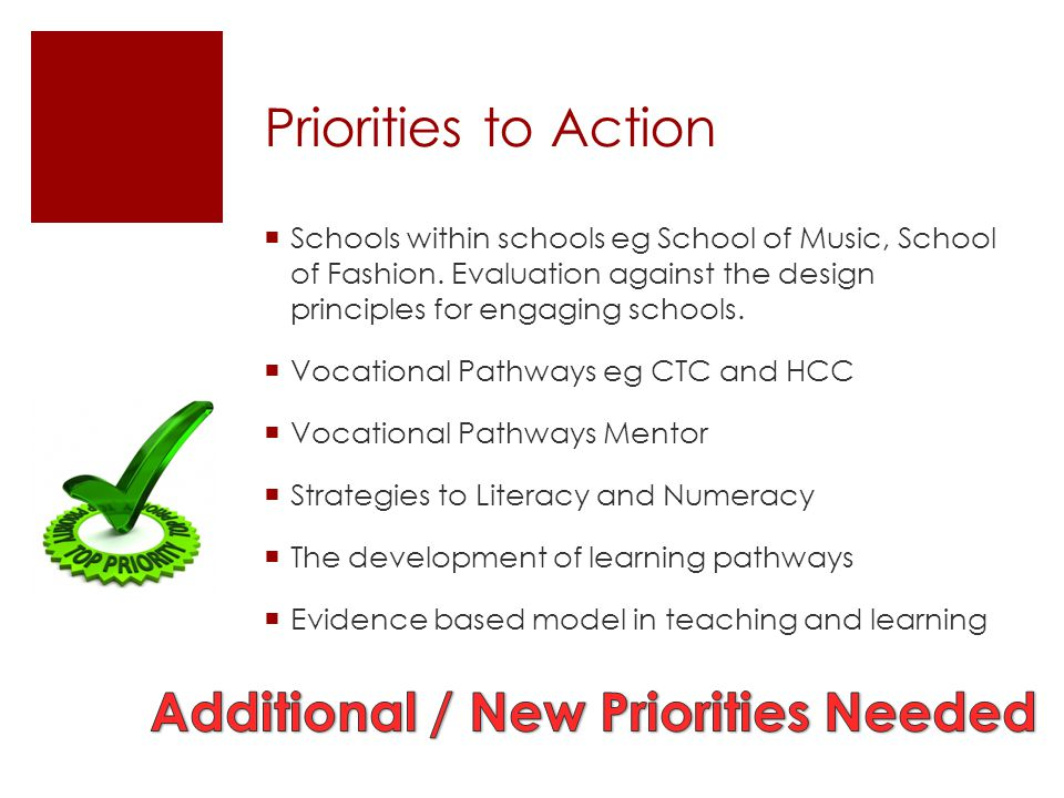 Additional / New Priorities Needed