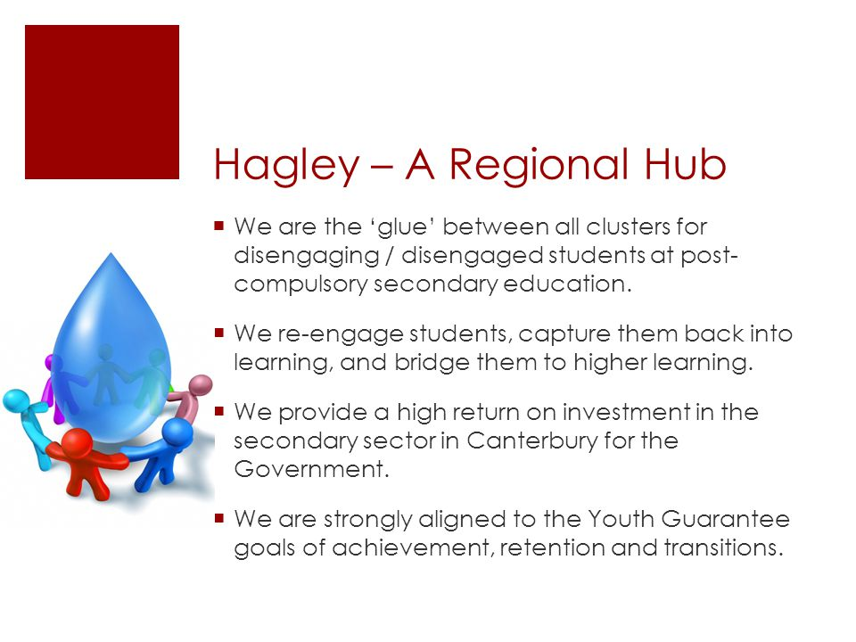 Hagley – A Regional Hub We are the 'glue' between all clusters for disengaging / disengaged students at post- compulsory secondary education.