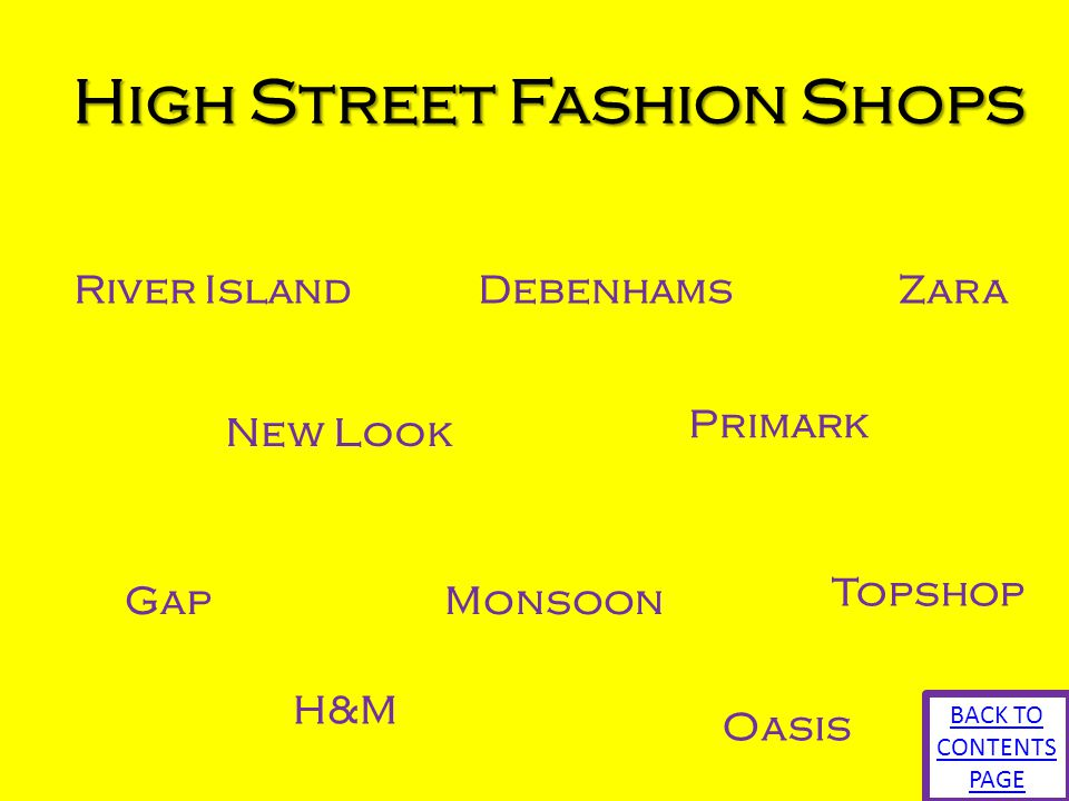 High Street Fashion Shops