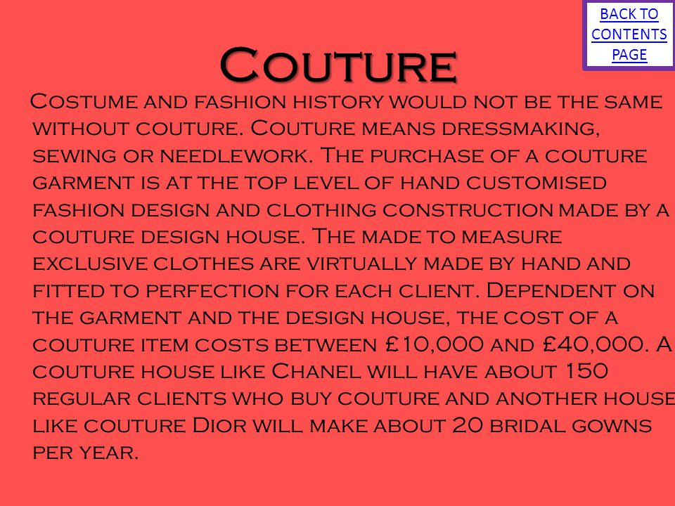 BACK TO CONTENTS PAGE Couture.