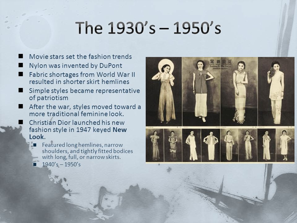 The 1930's – 1950's Movie stars set the fashion trends