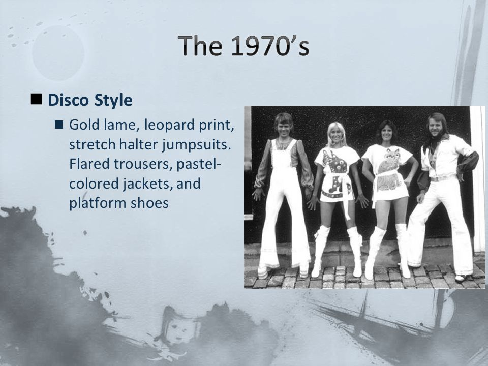 The 1970's Disco Style. Gold lame, leopard print, stretch halter jumpsuits.