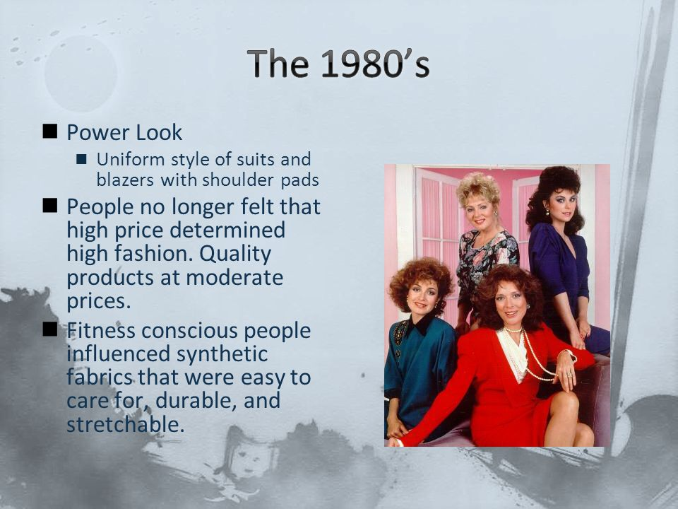The 1980's Power Look. Uniform style of suits and blazers with shoulder pads.