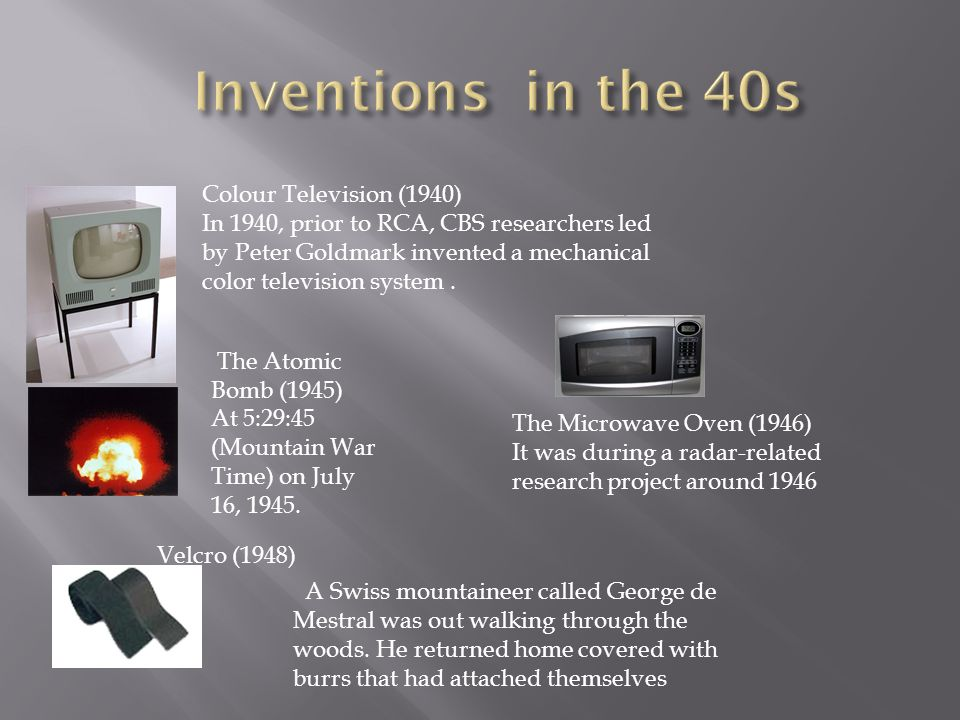 Inventions in the 40s Colour Television (1940)