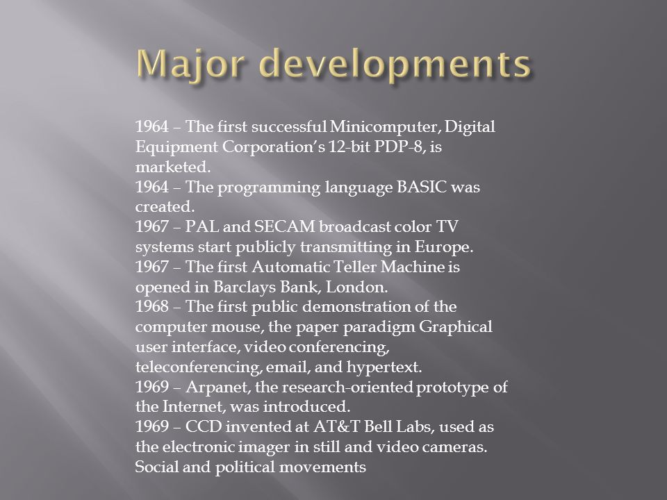 Major developments 1964 – The first successful Minicomputer, Digital Equipment Corporation's 12-bit PDP-8, is marketed.