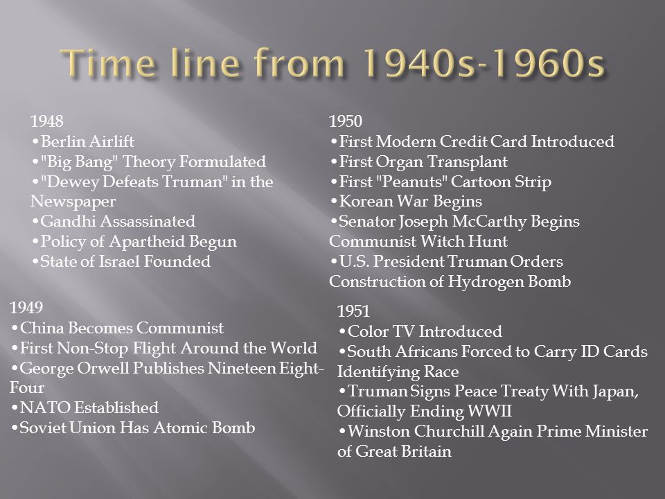 Time line from 1940s-1960s 1948 •Berlin Airlift