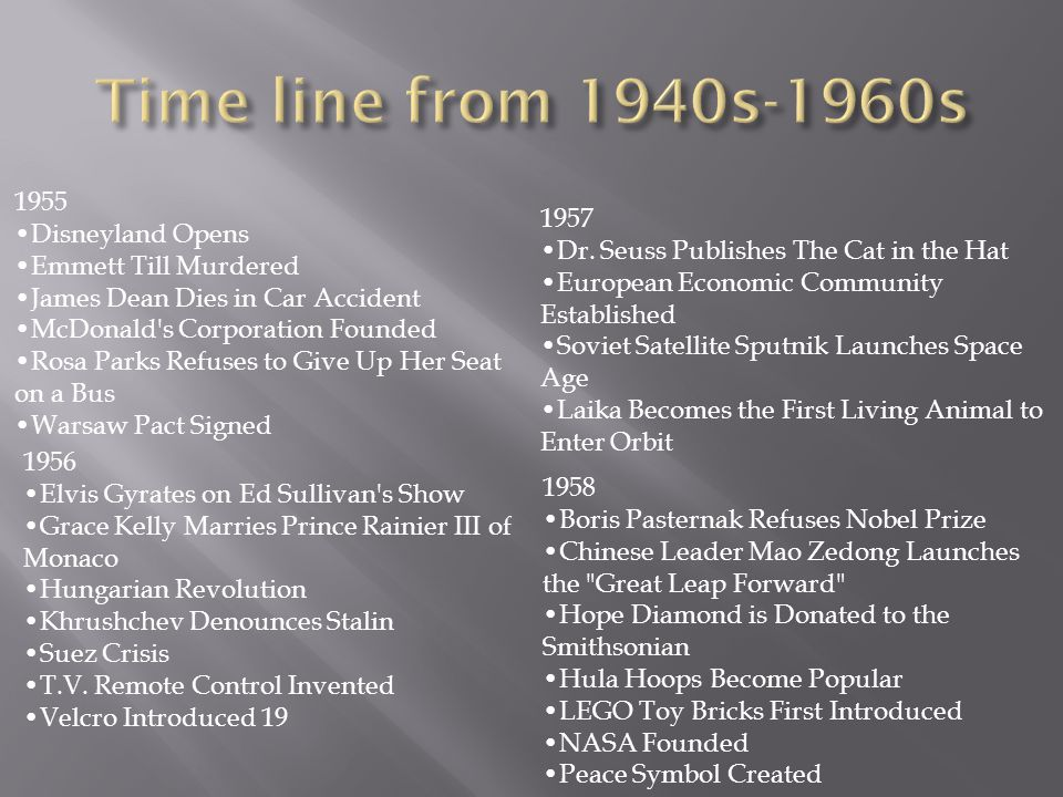 Time line from 1940s-1960s 1955 •Disneyland Opens 1957