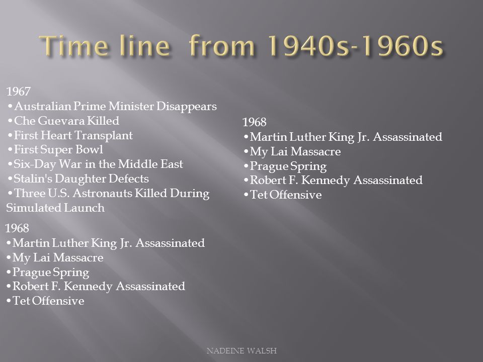 Time line from 1940s-1960s 1967 •Australian Prime Minister Disappears