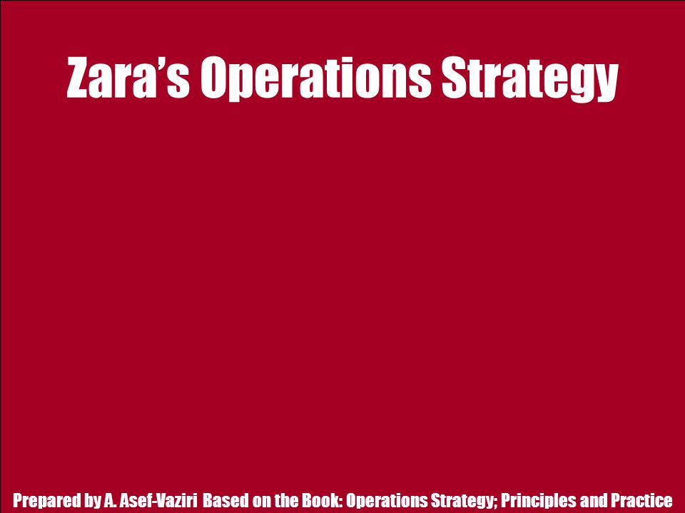 Zara's Operations Strategy
