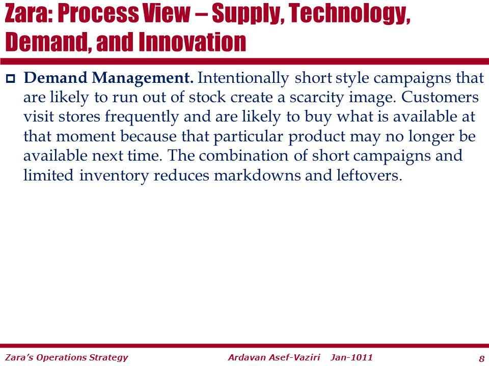 Zara: Process View – Supply, Technology, Demand, and Innovation