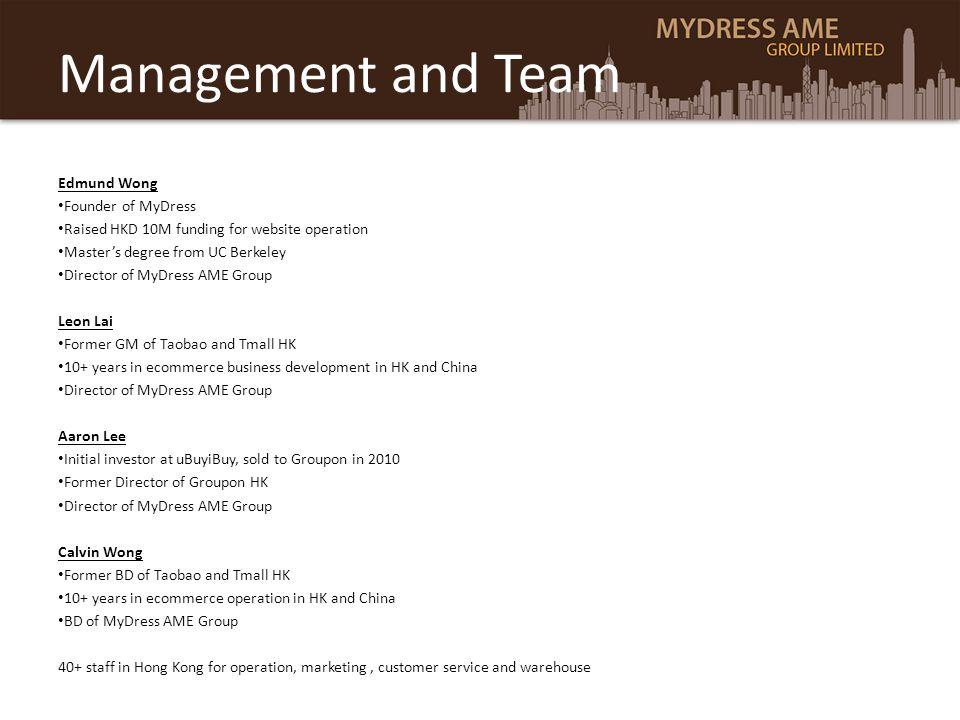 Management and Team Edmund Wong Founder of MyDress