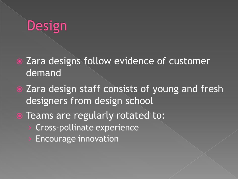 Design Zara designs follow evidence of customer demand