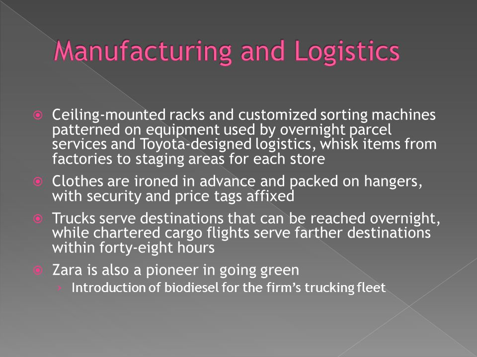 Manufacturing and Logistics