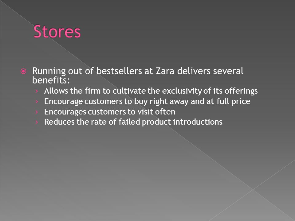 Stores Running out of bestsellers at Zara delivers several benefits: