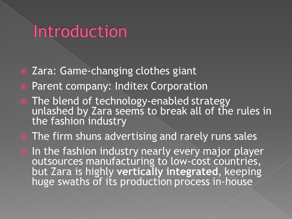 Introduction Zara: Game-changing clothes giant